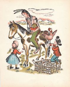 1940s Book Print Page Pioneer, Old West, Indian, Chicken