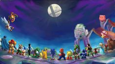 Super Smas Bros. for 3DS/WII U: With Link, Ness, Wii Fit Trainer, Rosalina & Luma, Olimar & Blue Pikmin, Little Mac, Villager, Charizard, Mega Man, Pac-Man, Yoshi, Sonic, Marth, Mario, Fox, Donkey Kong, Kirby, Pikachu and Pit.