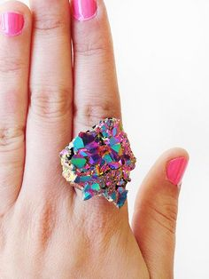 Colourful iridescent druzy ring  | via ETSY