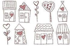 Heart at Home Redwork Houses Set, 5x7 - 9 Designs!   Flowers   Machine Embroidery Designs   SWAKembroidery.com