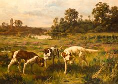 Percival Leonard Rousseau (1859-1937), Three hunting dogs stalking game, Signed, Oil on canvas, 21 x 29 inches
