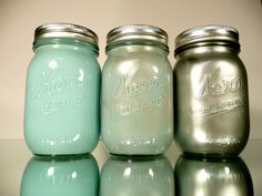 Blue and Silver Mason jars Uncovet