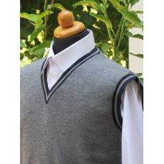 Men's V-Neck Sleeveless Sweater - Grey with Blue Stripe Workout Vest, High Collar, Grey Sweater, Blue Stripes, Cable Knit, Classic Style, Gray Color, V Neck, Medium
