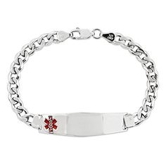 Sterling Silver Medical ID Curb Link Bracelet 7 Inches *** You can find more details by visiting the image link.