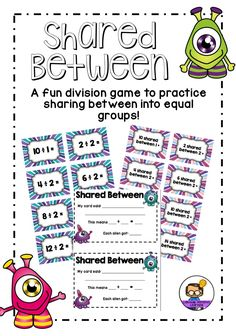 Fun FREEBIE for practising the concept of sharing between into equal groups for Division!