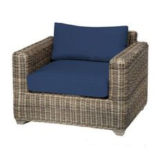 TK Classics Cape Cod Wicker Outdoor Club Chair - Set of 2 Cushion Covers - TKC030B-CC-NAVY