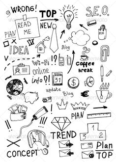-Business Doodles – Concepts Business Business Doodles – Concepts Business See it Kritzelei Tattoo, Doodle Tattoo, Doodle Art Drawing, Tattoos, Note Doodles, Simple Doodles, Bullet Journal Ideas Pages, Bullet Journal Inspiration, Planner Doodles