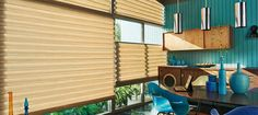 Designed with no exposed cords, The Alustra Collection of Modern Roman Shades from Hunter Douglas combine the elegance of soft folds with the function of a shade.