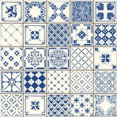 Blue Ceramic Tiles All Over Graphic Tee by JunkyDotCom - Medium