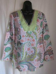 EXPRESS Multi-Color Paisley Sequin Lace V-Neck Boho Tunic Top M Medium USA #Express #Tunic