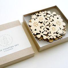 Flower Coaster Set of 4 Bamboo by decoylab on Etsy