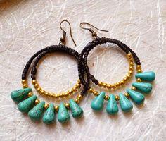 Summer Love Brass & Turquoise Resin Teardrop Hoop By RoeDesign
