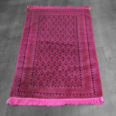 3x4 Overdyed Vintage Tribal Hot Pink Rug woh-2514