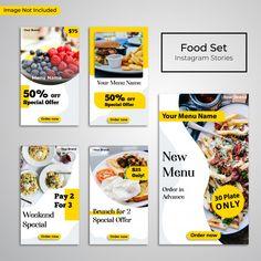Social media post instagram stories food restaurant banner Premium Vector Social Media Banner, Social Media Branding, Social Media Design, Social Media Template, Food Web Design, Food Poster Design, Menu Design, Instagram Design, Instagram Story