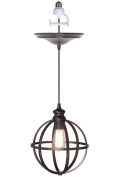 Transform your recessed lighting without any tools using Worth Home Products Brushed Bronze Instant Pendant Light Conversion Kit and Globe Cage Shade. Screw In Pendant Light, Bronze Pendant Light, Globe Pendant Light, Pendant Lighting, Mini Pendant, Edison Lighting, Pendant Lamps, Ceiling Pendant, Industrial Lighting