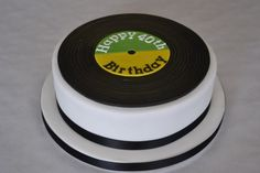 Round cake covered in white sugarpaste with a modelled record on top with personalised message. round cake To feed 20 people Price based on vanilla sponge Cupcakes, Cake Cookies, Cupcake Cakes, Food Cakes, Music Theme Birthday, 40th Birthday Cakes, Music Cakes, Music Themed Cakes, Record Cake