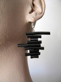 Black rubber earrings minimal abstract geometric by BlackRedDots Rope Jewelry, Geek Jewelry, Black Jewelry, Black Earrings, Wooden Jewelry, Jewelry Design, Bullet Jewelry, Gothic Jewelry, Dangle Earrings