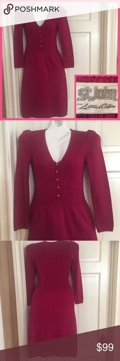 """💞Vintage St. John - Lillie Rubin Raspberry Dress Absolutely stunning vintage St. John for Lillie Rubin boucle dress. Front inside pockets beautiful sleeve detail and enamel covered buttons down the front. No size inside but would probably fit a small or medium. Bust 16"""" measured flat across front. Waist: 14"""".   Length: 40.5"""". Sleeve length: 22.5"""". Boucle knit material. No holes anywhere. In excellent vintage condition. Dry clean only. Vintage Dresses Midi"""