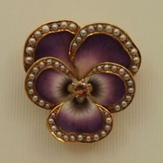 Edwardian Enamel, Pearl and Diamond Pansy Watch Pin/Pendant