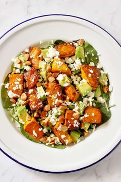 This Roast Pumpkin, Spinach and Feta Salad with Honey Balsamic Dressing is a bright and fresh antidote to bland and boring salads. It's great as a meal on its own or paired with some tasty barbecued meat as the perfect side dish. Pumpkin And Feta Salad, Spinach Feta Salad, Roast Pumpkin Salad, Bbq Salads, Easy Salads, Dinner Salads, Summer Salads, Vegetarian Recipes, Cooking Recipes