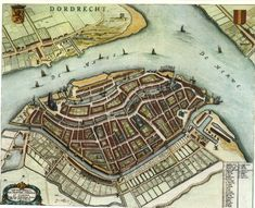 Dordrecht, the Netherlands, by Johan Blaeu. Made in part of a city atlas, Tooneel der Steden. Vintage Maps, Antique Maps, Classical Antiquity, Map Globe, Old Maps, City Maps, Historical Maps, Gravure, Map Art