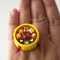 Kawaii Miniature Food Ring Kids Bento Lunch par fingerfooddelight. $12,00, via Etsy.