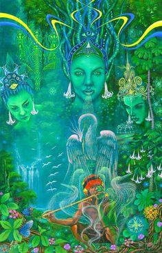 "Painting: ""Armonia Musical� by visionary artist Jheferson Saldana Valera. Psychedelic Art, Fantasy Kunst, Fantasy Art, Psy Art, Mystique, Visionary Art, Sacred Art, Oeuvre D'art, Street Art"
