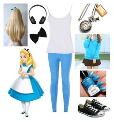 """""""Modern Alice in Wonderland"""" by shadow-cheshire ❤ liked on Polyvore featuring Disney, Nougat, bisubisu, Converse, claire's, modern, women's clothing, women, female and woman"""