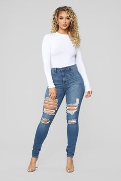 Fashion Nova has the best selection of women's high waisted jeans online. From high waisted flare jeans to high waisted skinny jeans and distressed denim to boyfriend high rise jeans, you'll find it all here. Superenge Jeans, Sexy Jeans, Nova Jeans, Ankle Jeans, Trendy Swimwear, Black Girl Fashion, White Fashion, Ripped Skinny Jeans, Blue Ripped Jeans Outfit