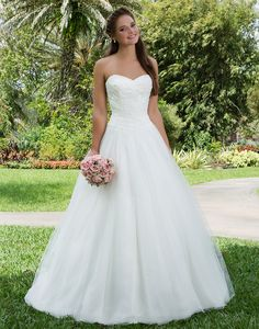Sweetheart Gowns sweetheart style 6123 This sweetheart neckline, tulle draped lace bodice and basque waistline are sure to make every bride feel sweet and girly.