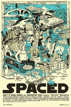 A poster for a crazy British television show starring Simon Pegg, Jessica Hynes, and Nick Frost. Created by Edgar Wright. If you've seen Spaced you know it deserves this awesome poster! Simon Pegg, Breaking Bad, Scott Pilgrim Movie, Nick Frost, Cool Posters, Movie Posters, British Comedy, Bd Comics, Cultura Pop