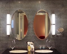 Love The Penny Round Tile On The Wall   Bathroom At The Hotel DeBrett In  Auckland