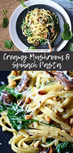 Spinach Pasta Sauce, Spinach Mushroom Pasta, Spinach Pasta Recipes, Cream Sauce Pasta, Linguine Recipes, Spinach Stuffed Mushrooms, Pasta With Mushroom Sauce, Pasta With Spinach, Mushrooms