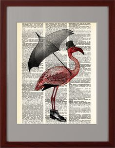 Flamingo Art print, Flamingo with umbrella vintage book page print, Dorm decor, Gift, Home Wall Decor, Dictionary book Pages pages, CODE/212