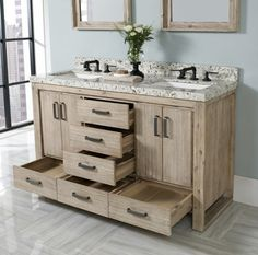 Web Photo Gallery Fairmont Designs Oasis Free Standing Double Bathroom Vanity with Six Drawers in Sand Pebble