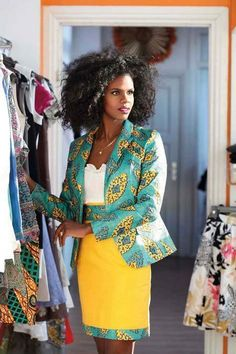 Like the blazer and the pattern lining on the skirt. Maybe a full skirt in a print with a solid piping?