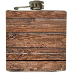 Distressed Brown Old Barn Wood Whiskey Flask Groomsmen Birthday Gift Not Real Wood Stainless Steel 6 oz Liquor Hip Flask LC-1106