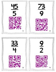 QR Code Task Cards: Students practice converting Improper Fractions to Mixed Numbers and then self-check using QR Codes. $ Now, I don't do fractions, but using a qr code for self checking, very cool