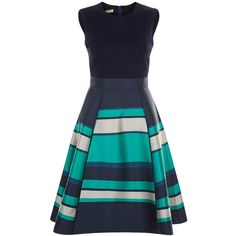 Hobbs Bella Dress, Navy/Multi ($220) ❤ liked on Polyvore featuring dresses, cocktail dresses, long-sleeve midi dresses, fit and flare cocktail dress, striped maxi dresses and fit and flare dress