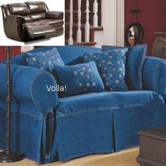 Reclining Sofa Slipcover Denim Blue Jeans Adapted For Dual Recliner Couch