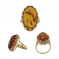 Vintage / Estate Amber Ring, 14k Yellow Gold, $528.00