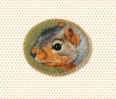 Little Squirrel . brooch . handmade . felt . needle felted . hand embroidered . blue . animal