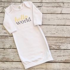 Hello world embroidered baby gown. New baby by GentrysCloset