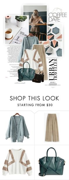 """""""Coffee Date"""" by color-me-red ❤ liked on Polyvore featuring Balmain, J.Crew, Sole Society, Paul Andrew and CoffeeDate"""