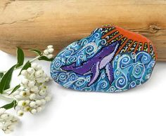 Pebble Art Pebble Painting Whale Pebble Whale Paperweight