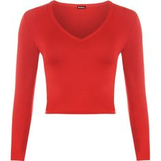 Rosetta V-Neck Crop Top ($17) ❤ liked on Polyvore featuring tops, shirts, crop tops, long sleeves, red, v-neck tops, v neck shirt, long-sleeve crop tops, long-sleeve shirt and red top