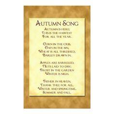 Autumn Song Harvest Poem Flyer | Zazzle.com