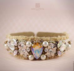 """Купить Ободок """"Charming"""" - золотой, ободок для волос, Ободок с камнями, ободок ручной работы"""