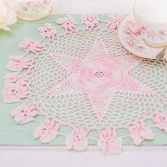 Pretty vintage pink crochet doily/ mat lovely by TheButteredCat