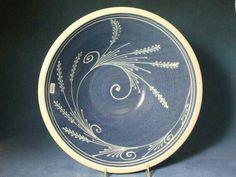 Extra Large Stoneware Bowl White Wheat on Blue Background Swirl design by CornishHillPottery. Ceramic Decor, Ceramic Design, Ceramic Clay, Ceramic Painting, Ceramic Bowls, Stoneware, Earthenware, Pottery Plates, Slab Pottery